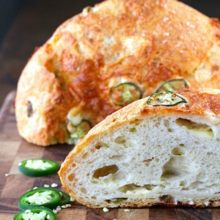 No Knead Jalapeño Cheesy Bread