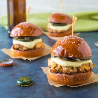 Ground Pork Sliders with Mustard Cream