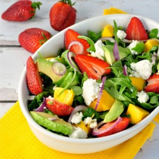 Strawberry-Mango Arugula Salad with Goat Cheese
