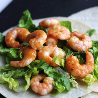 Sweet & spicy prawn tacos