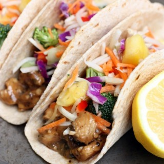 Thai Peanut Chicken Tacos