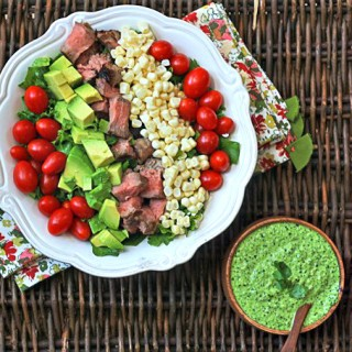steak salad with cilantro jalapeno pesto