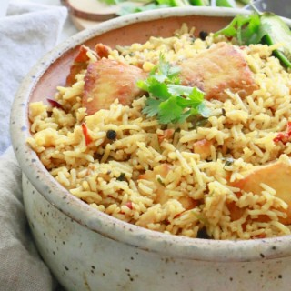 Weeknight Fish Biryani (with leftover rice)