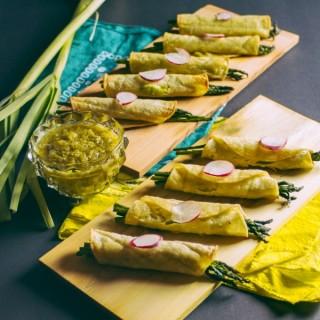 Taquitos Primavera with Green Garlic Salsa