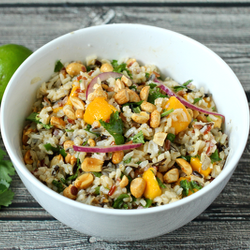 Wild rice salad with mango and cilantro