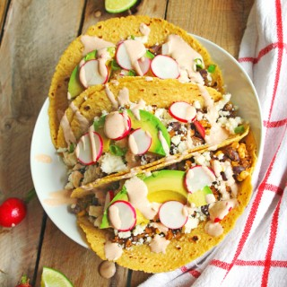 Corn and black bean tacos with smoky sour cream