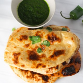 Homemade Naan with Spicy Mint Cilantro Chutney