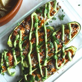 Mexican Zucchini Boats with Spicy Cilantro Cream