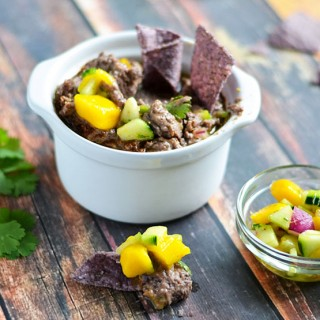 Black Bean Hummus with Spicy Mango Salsa
