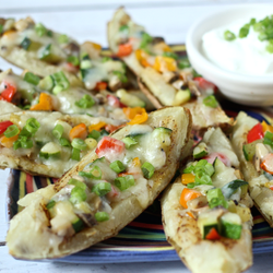 Veggie-stuffed potato skins