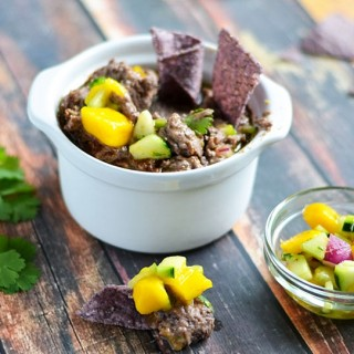 Spicy Black Bean Hummus w/ Mango Salsa