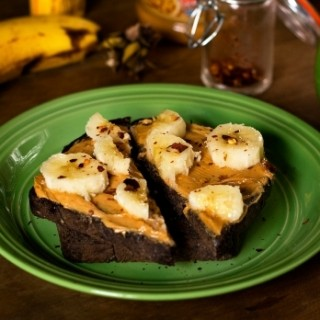 PB & Banana Toast with a Spicy Touch