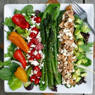 Roasted Pepper & Asparagus Salad with Chicken