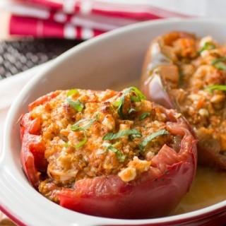 Shrimp and Cheese Stuffed Heirloom Tomatoes
