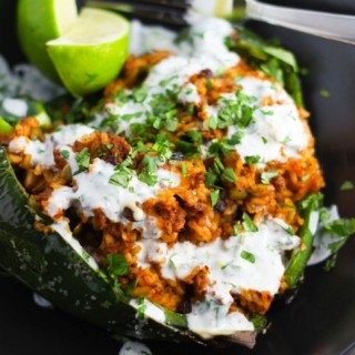Stuffed Poblano Peppers with Lime Crema