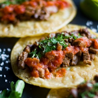 Mexican Steak Tacos with Taqueria Red Salsa