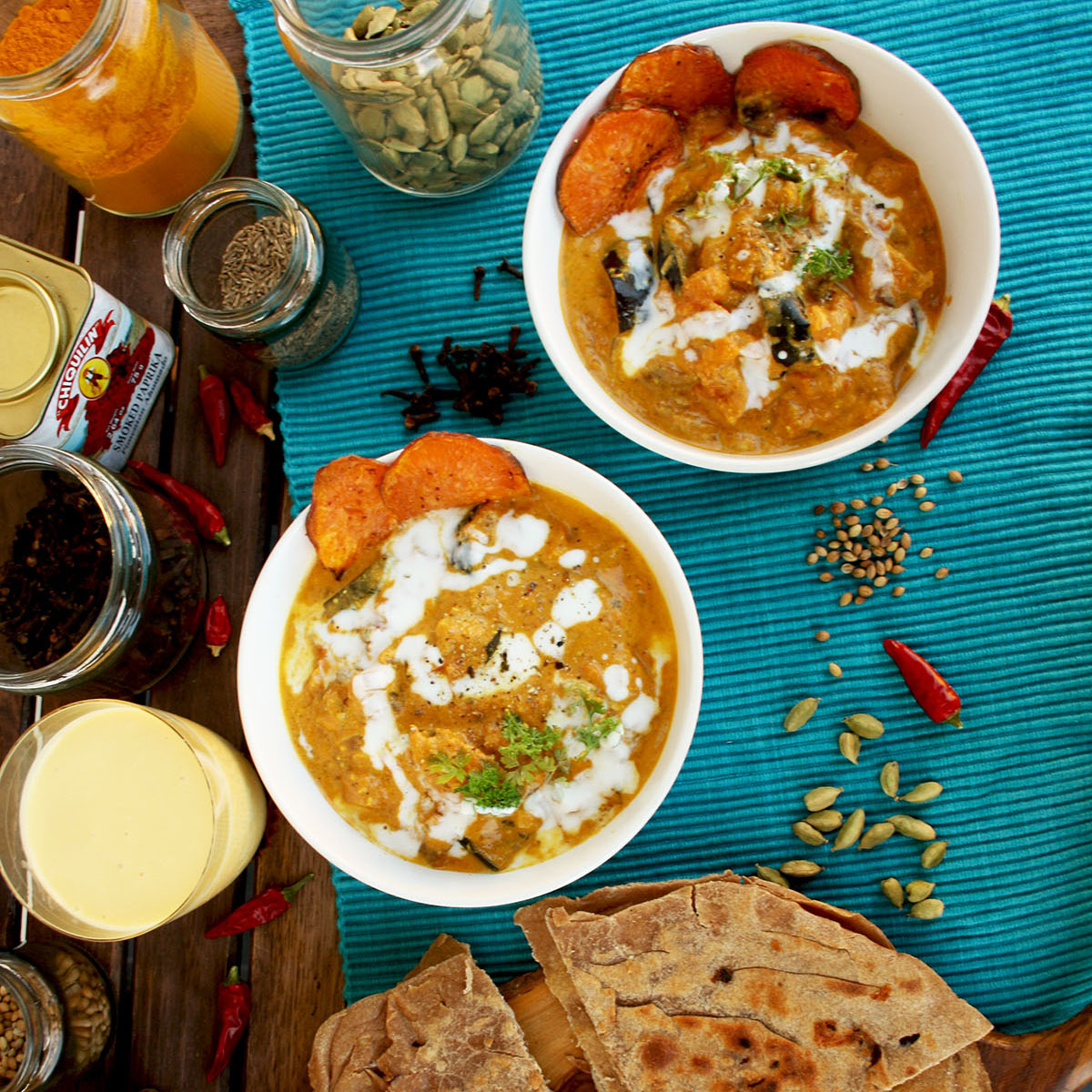 Roasted Eggplant Sweet Potato Curry with Cheese Pa ...