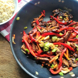 A Healthy Beef Stir Fry with Red Bell Peppers